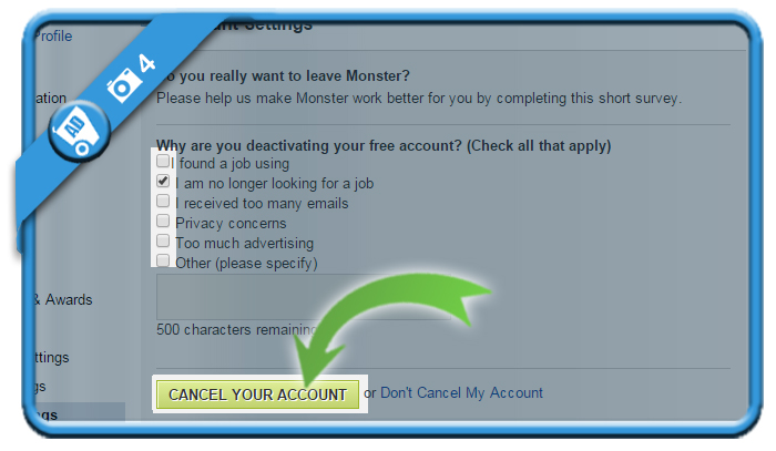 delete monster account 4