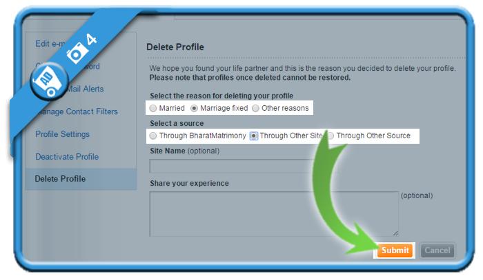 delete bharatmatrimony account 4
