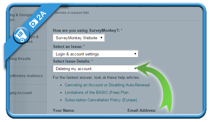 delete surveymonkey account 2A