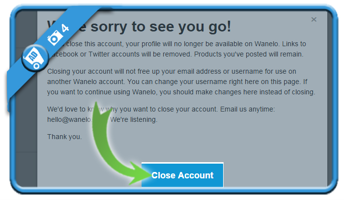 delete wanelo account 4