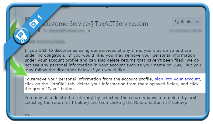 delete taxact account 1