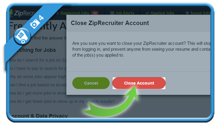 delete ziprecruiter account 4