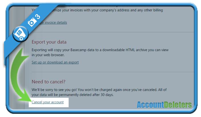 delete basecamp account 3