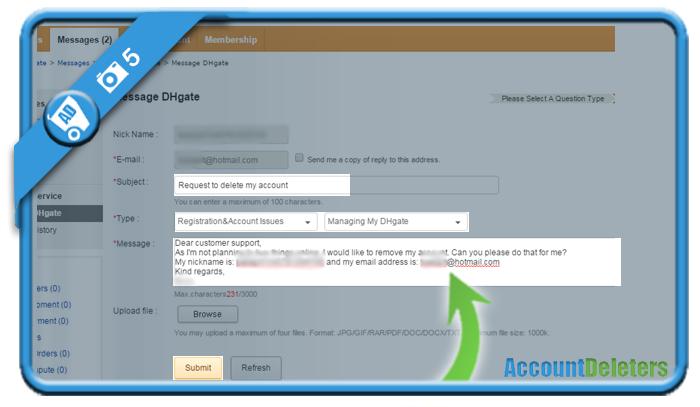 delete dhgate account 5