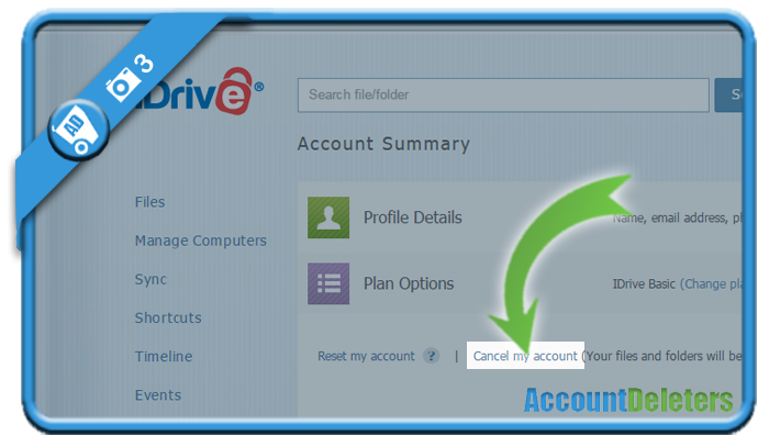 delete idrive account 3