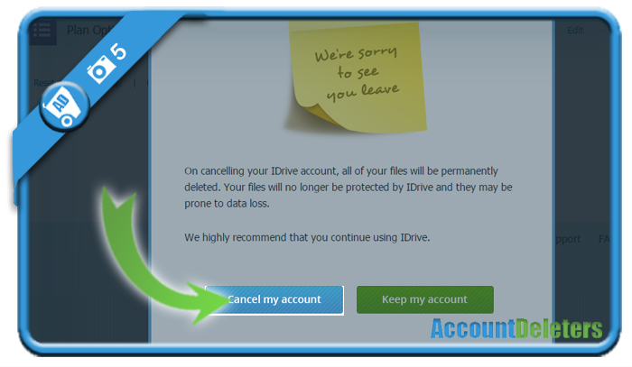 delete idrive account 5
