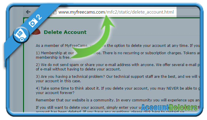 delete myfreecams account 2
