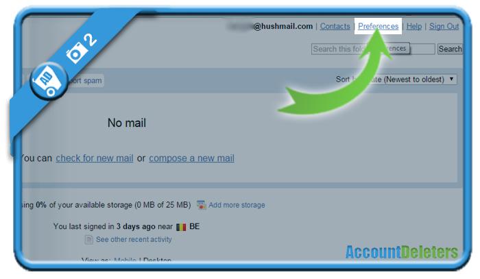 delete hushmail account 2