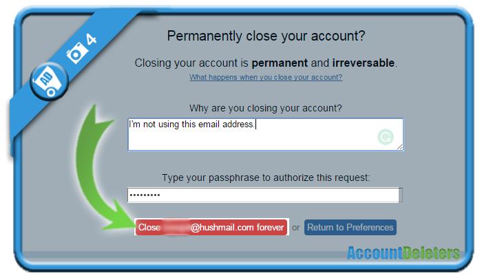 delete hushmail account 4