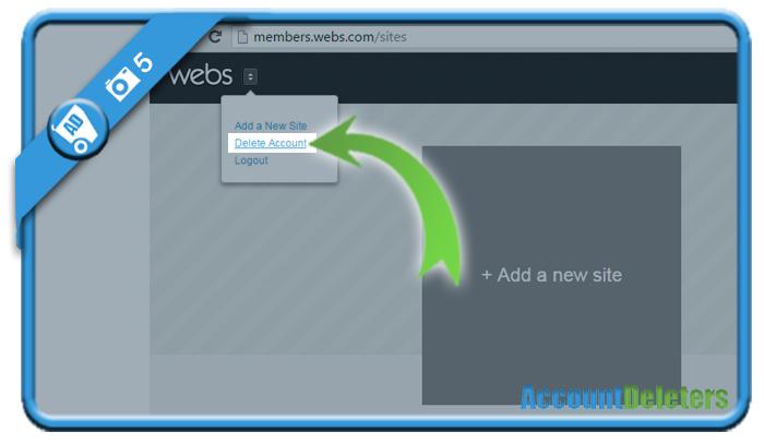 delete webs account 5