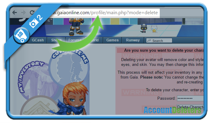 delete gaia online account 2