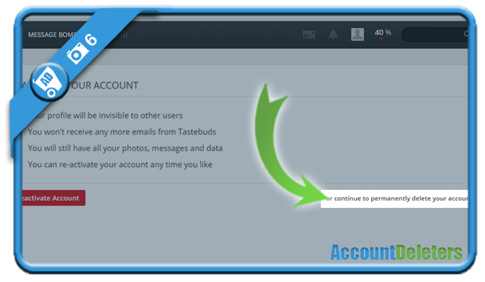 delete tastebuds account 6