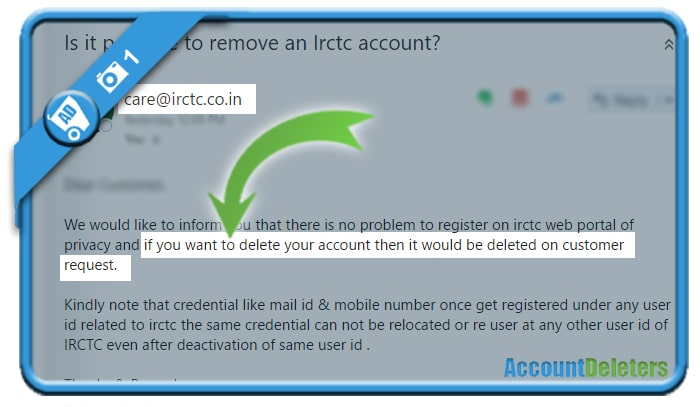 delete irctc account 1