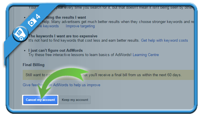 delete google adwords account 4