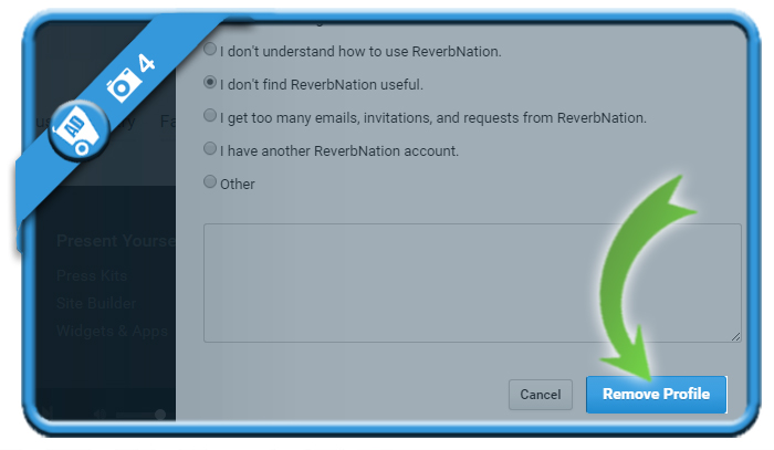 delete reverbnation 4