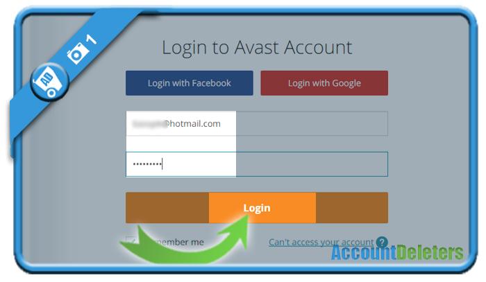 delete avast account 1