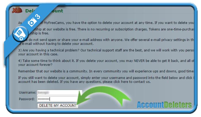 delete myfreecams account 3