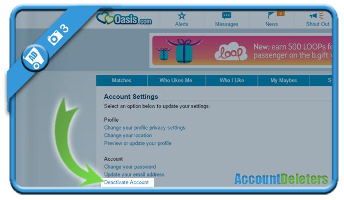 delete oasis account 3