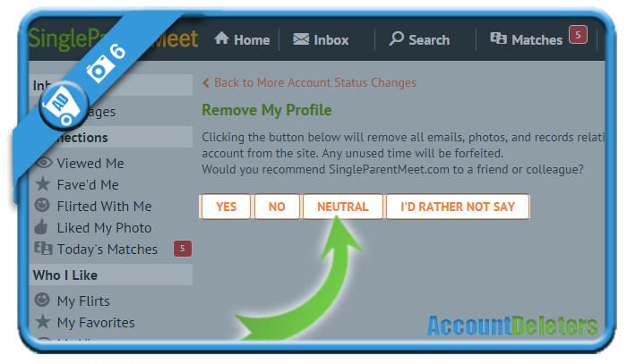 delete singleparentmeet account 6