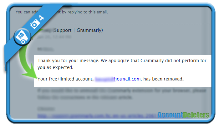 delete grammarly account 4