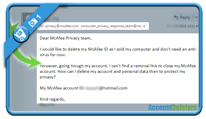 delete mcafee account 1