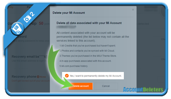 delete mi account 2