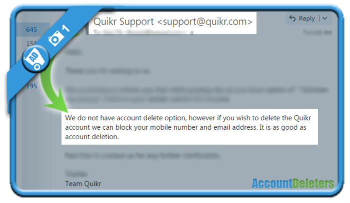 delete quikr account 1