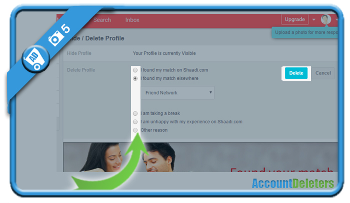 delete shaadi account 5