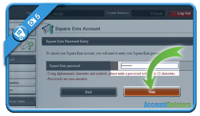 delete square enix account 5