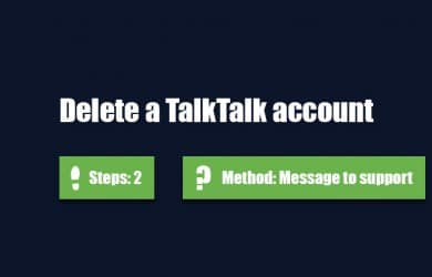 Delete TalkTalk account