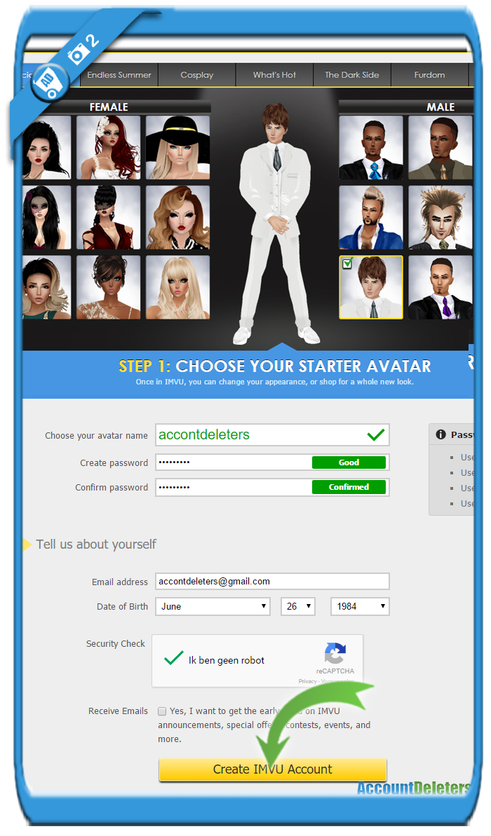 create imvu account 2